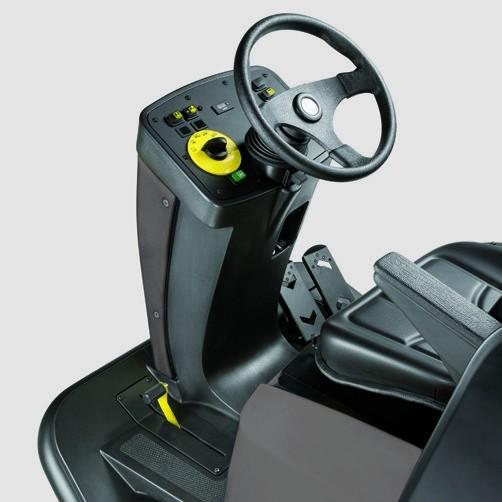 Подметально-всасывающая машина KM 120/150 R D: Цилиндрическая щетка с низким уровнем износа.