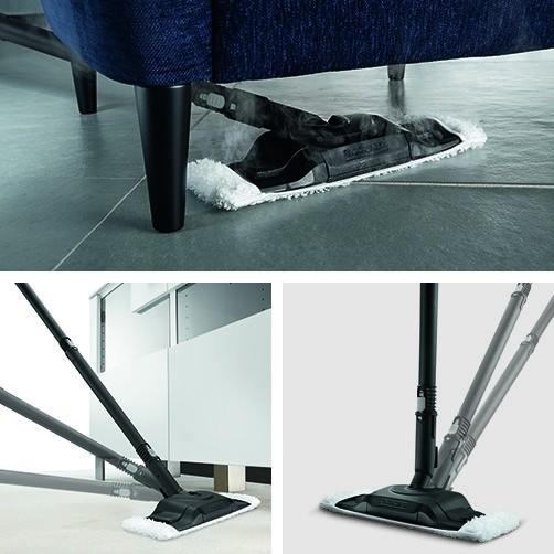 Пароочиститель SC 4 Premium + Iron Kit: Насадка для уборки пола Comfort Plus с гибким подсоединением и инновационной технологией смены салфетки